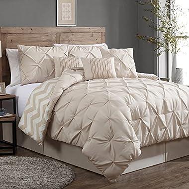 Geneva Home Fashion Avondale Manor 7-Piece Ella Pinch Pleat Comforter Set, Queen, Taupe