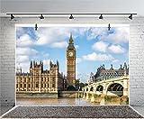 Leyiyi 7x5ft Photography Background Big Ben Backdrop England Parliament House Westminster Bridge London Travel Landmark European Wedding Sky Cloud River Photo Portrait Vinyl Studio Video Prop