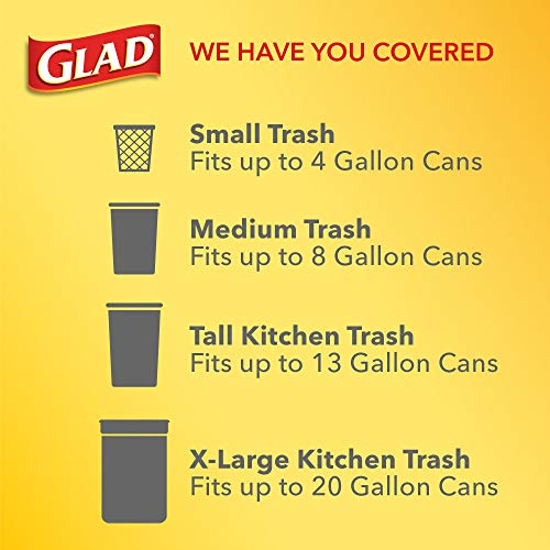 Glad ForceFlex Tall Kitchen Drawstring Trash Bags, 13 Gal, 100 Ct (Package May Vary)
