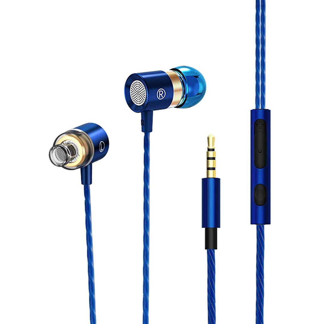 SHUDAGE 3.5mm Wired Metal Earbuds - Stereo In-Ear Heavy Bass Earphones Ergonomic Design Remote Control Earpieces with Mic for iPhone\Samsung Galaxy\Sony\LG\Huawei\Xiaomi Android & IOS Devices (blue)