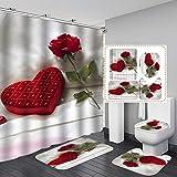 Duschvorhang-Set, 3D-Digitaldruck, 4-teiliges Set, Stoff, Badezimmer-Dekor-Set mit Haken für Zuhause, Hotel, Party-Dekoration