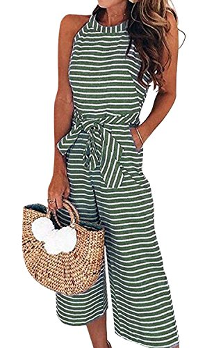 AMiERY Womens Jumpsuits Striped Wide Leg Tie Belted Zipper Back Capri Loose Sleeveless Jumpsuit Rompers with Pockets