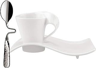 Villeroy & Boch NewWave Juego de café expreso, 3 pz, Porcelana, Blanco