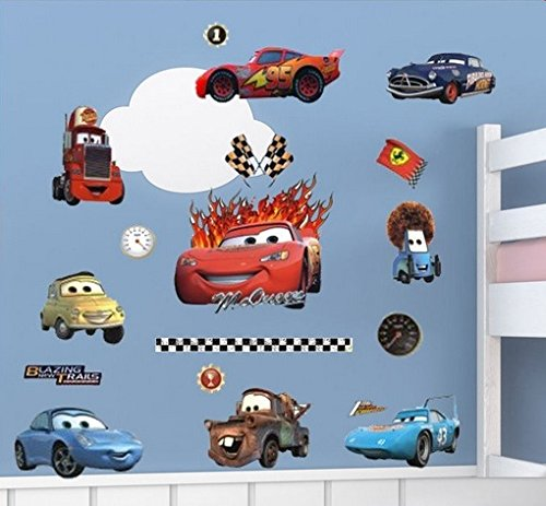Lightning McQueen und Freunde Autos Wandtattoo Zimmer Dekor. Bunte Wandaufkleber Aufkleber für ein Kinderzimmer. Fototapete Art Deco. Kinderzimmer Dekoration.