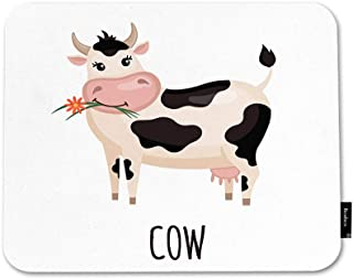 Beabes Cartoon Cow Floral Mouse Pad Cute Animal Bovine Horn Flower Leaf Farm Moo Cattle Non-Slip Thick Mouse Pad Rubber Ba...