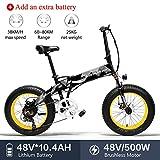Lankeleisi X2000 - Neumático grande de 48 V, 500 W, 25,4 Ah, aleación de aluminio, bicicleta eléctrica plegable para adulto, unisex, para montaña/playa/nieve (amarilla + 1 batería extra)