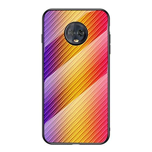 BINGRAN Motorola Moto G6 Plus Hülle Case,Hyun Farbe Gehärtetes Glas Rückendeckel +Weiche TPU Silikon Stoßstange Schutzhülle Hülle für Motorola Moto G6 Plus-Gold