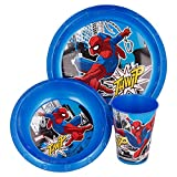 SPIDERMAN   Set Vajilla Infantil - Resistente   Servicio de Mesa libre de BPA para niños y bebés - 3 Piezas: Vaso, Plato y Cuenco