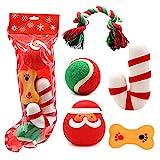 PETUOL Christmas Dog Stocking Toys, Xmas Dog Toy Set with Squeaky Toys, 5 Packs