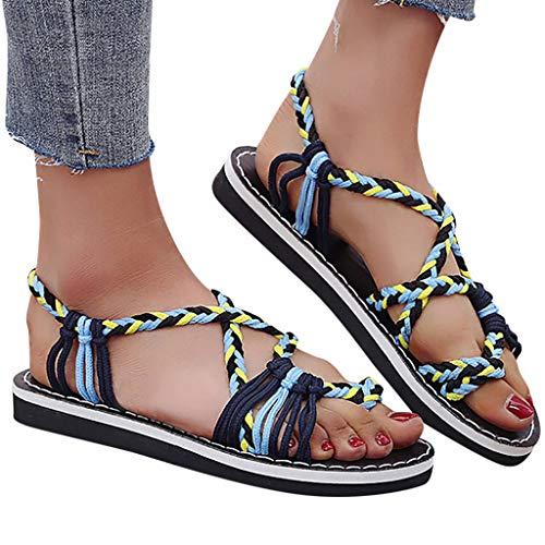 LCCYJ Sandalias Mujer Verano Cáñamo Cuerda Chanclas Sandalias Moda De Verano Zapatos De Playa Romanos Zapatillas,002,42