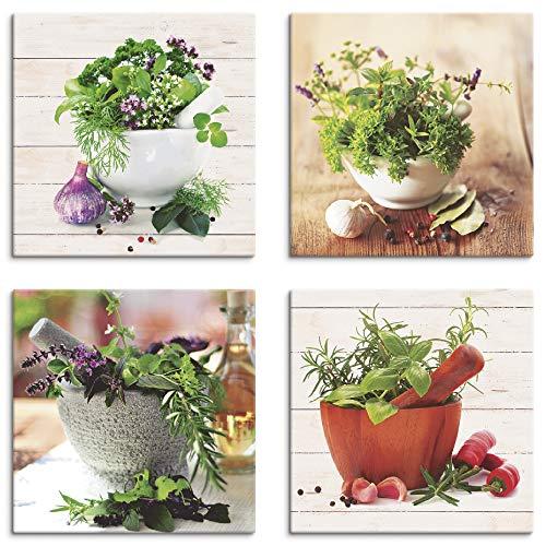 Artland Leinwandbilder auf Holz Wandbild Bild Set 4 teilig je 20x20 cm Quadratisch Stillleben Lebensmittel Grün Kräuter Gewürze S6IJ