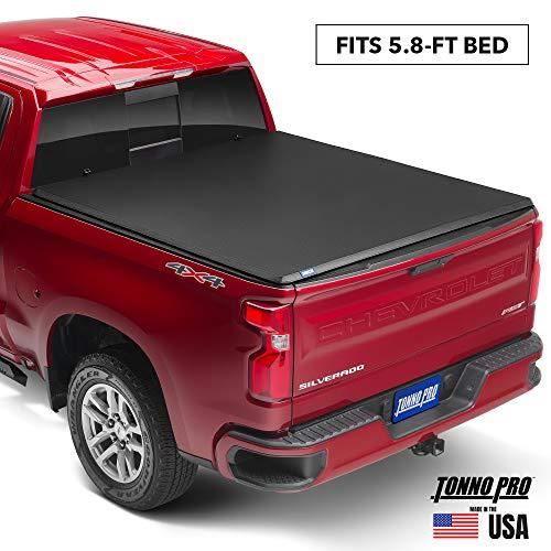 "Tonno Pro Hard Fold, Hard Folding Truck Bed Tonneau Cover | HF-159 | Fits 2014-18, 19 Ltd./Lgcy GMC Sierra & Chevrolet Silverado 1500 5'8"" Bed"