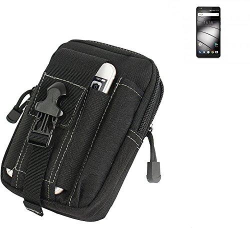 K-S-Trade Gürtel Tasche Für Gigaset GS370 Plus Gürteltasche Holster Schutzhülle Handy Hülle Smartphone Outdoor Handyhülle Schwarz Zusatzfächer