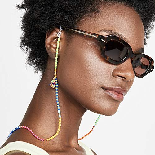 Savin Cadena de anteojos con Cuentas de Colores, decoración con Cuentas para Gafas de Sol, Correa, Soporte para Lectura, anteojos, Cordones, Cordones para Mujeres