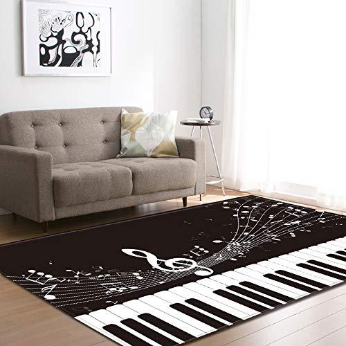 Oukeep Alfombra con Patrón De Piano 3D Alfombra De Puerta Duradera Y Lavable Adecuado para Baño, Dormitorio, Sala De Estar