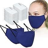 2PCS Adult Unisex Washable & Reusable Face Masks with Filter Pocket + 30PCS Filters (Blue)