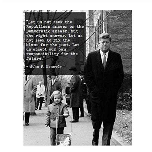 """John F. Kennedy Quotes Wall Art- """"Let Us Seek the Right Answer""""- 8 x 10' Art Wall Print-Ready to Frame. Retro Home-Office-Library Décor. Presidential Quotes. Perfect Gift for Political Inspiration."""