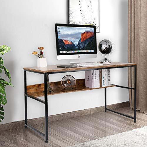 Leader Accessories Schreibtisch 120x60x77cm Bürotisch Stahlgestell PC-Tisch Studentenschreibtisch 1 Ablage Braun/Schwarz