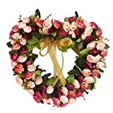 Decormy 14inch Heart-Shaped Garland Wreath Vintage Art Simulation Rose Flowers Wreath for Home Wedding Decoration Wine Red (14inch, Heart)