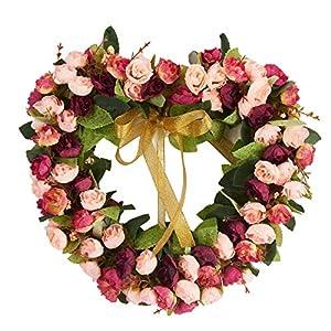 Baigio Woman Flower Wreath Handmade Artificial Floral Silk Wreath for Front Door Home Wall Wedding Decoration