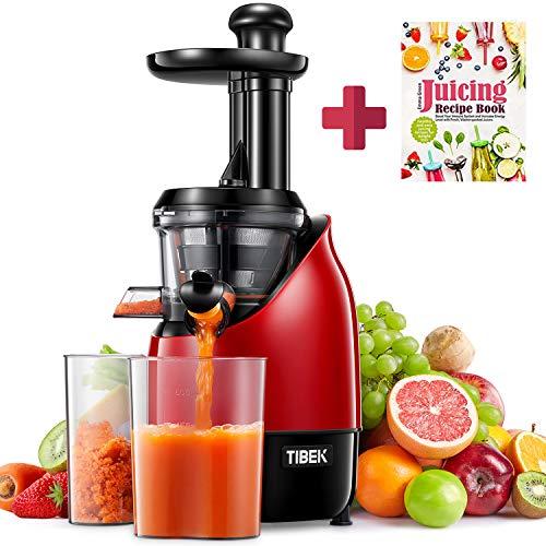 TIBEK Masticar exprimidor profesional de verduras y frutas, presionar la función reversible del motor silencioso, recipiente, cepillo de limpieza, recetas (sin BPA)[Rojo y negro]