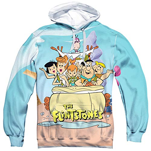 Trevco Flintstones Gang Unisex Adult Sublimated Pull-Over Hoodie for Men and Women (X-Large) White
