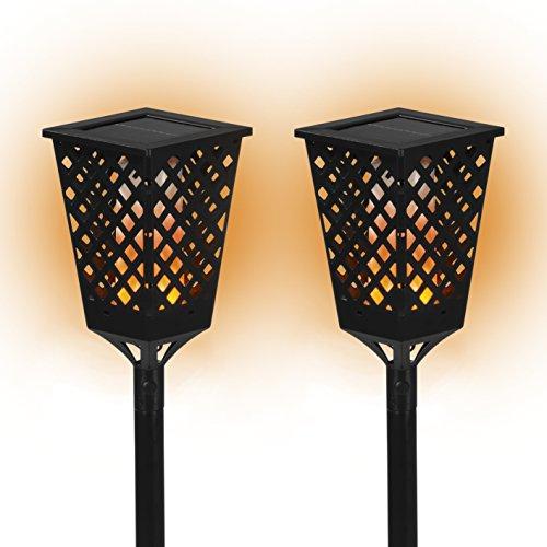 PRIMA GARDEN LED Solar-Fackelleuchte für draußen 2er-Set   Täuschend echter Fackeleffekt   Kabellos   automatisches Ein- und Ausschalten   Verstellbar, bis zu 80 cm   Bis zu 8 Stunden Leuchtdauer