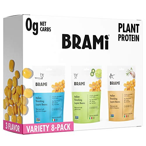 Simply Pickled Lupini Beans Snack by BRAMI   9g Plant Protein, 0g Net Carbs   Vegan, Vegetarian, Keto, Mediterranean Diet, Non Perishable   2.3 oz (Variety Pack, Pack of 8)