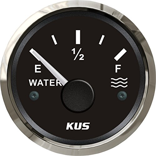 KUS Pactrade Marine Boat 2'' SS316 Water Tank Level Gauge Indicator Empty Full Red/Yellow 12V/24V 52mm 240-33ohms