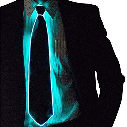 WSJDE Cravatta Luminosa da Uomo El Wire Neon LED Festa Luminosa Haloween Natale Illuminazione Luminosa Decorazione DJ Bar Club Palcoscenico Prop AbbigliamentoBlu Ghiaccio