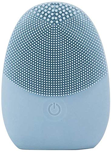 Li Long every day Facial cleansing brush for a cleaner skin - Sonic Facial Cleansing Brush - Exfoliating Cleansing Brush for all skin types - Food Grade Silicone Cleansing Brush, Blue