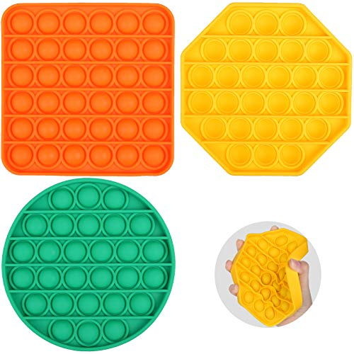 3PCS Push Pop Bubble Fidget Sensory Silicone Toy, Special Education Supplies Autism Needs Reliever Anxiety Stress Squeeze Sensory Toy for Kids Family Friends, Orange Square+Yellow Octagon+Green Circle