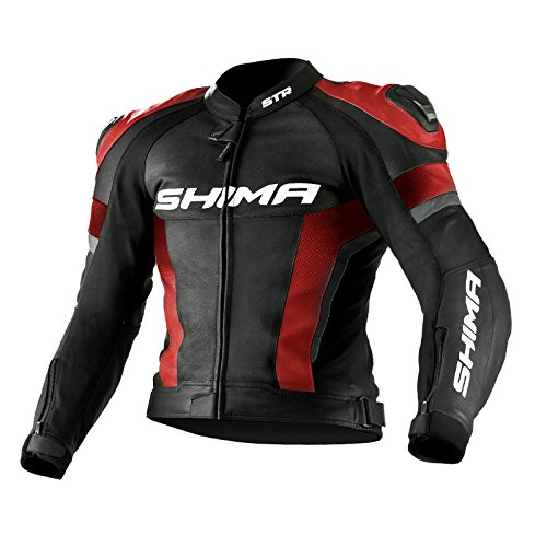 SHIMA STR JACKET ROSSO, Tuta da moto sportiva traforata in pelle (Taglie: 46-56), STR JACKET RED 50