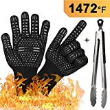 BBQ Grilling Big Green Egg Gloves, Fireplace Accessories Heat Resistant Oven Gloves and Kitchen Tong...
