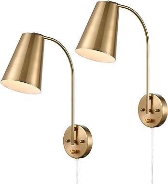 DANXU Modern Plug in Wall Sconce with Cord Set of 2 Brass Wall Light