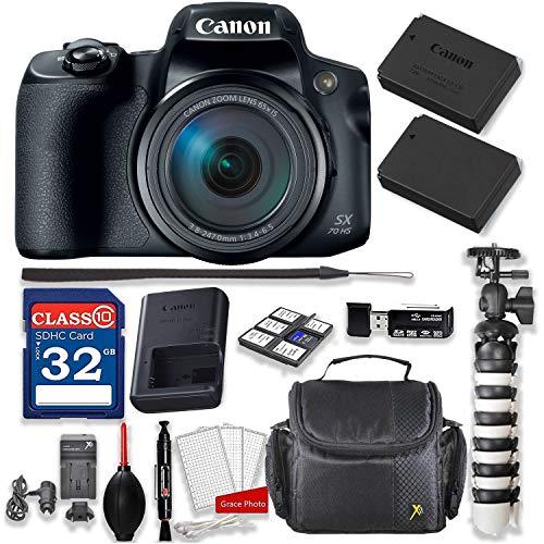 Canon PowerShot SX70 HS Digital Camera Kit + 32GB High Speed Memory Card + Extra Battery + Professional Accessory Bundle