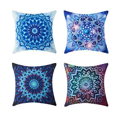 Topfinel Fundas cojín Colorido Lona de Almohadas Creativa para el sofá Juego de 4 45x45cm Caleidoscopio