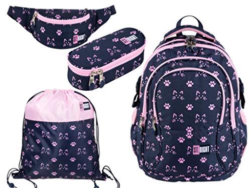 St. Right 4-delige schoolset ergonomische rugzak schoolrugzak pennenetui etui etui etui ovaal gymtas gym bag heuptas gymtas heuptas meisje roze kattenpotje