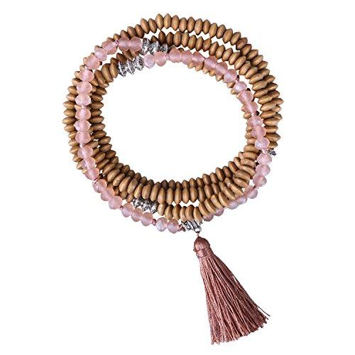 KELITCH De Madera Rosario Rebordeado Largo Collar Borla Colgante Mujer Hebra Pulsera para Verano Collar (Rosado)