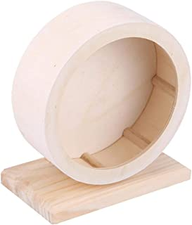 Hamster Wheel, Wooden Exercise Wheel Interactive Natural Roller Wheel Toy for Gerbils Chinchillas Hedgehogs Mice Other Small Animals