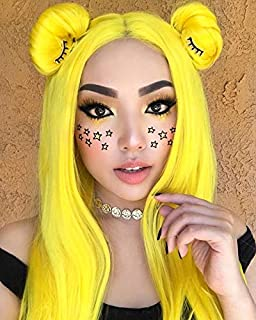 Sapphirewigs Yellow Color Natural Wavy Silky Soft Beauty Blogger Celebrity Perruque Daily Makeup Synthetic Lace Front Wigs (Yellow)