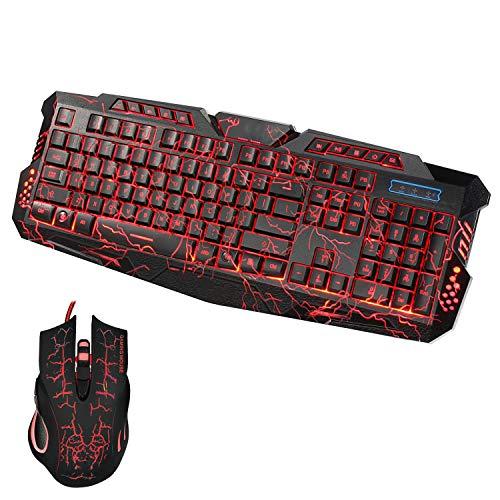 LQC Gaming-Maus und Tastatur-Set, LEDs Gaming Draht 2.4G Tastatur Maus auf dem Computer Multimedia Gamer Atmosphäre Licht 5500DPI Einstellbare Game Set