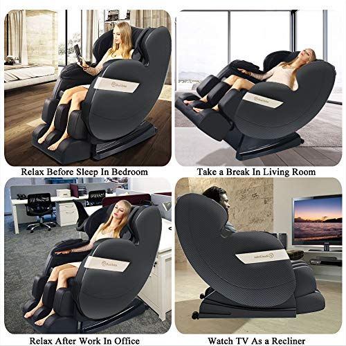 Real Relax 2020 Massage Chair, Full Body Zero Gravity Shiatsu Recliner with Bluetooth and Led Light, Black