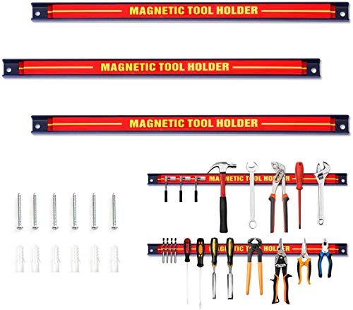 uyoyous 3 x Magnetleiste Werkzeug Starke Magnete 46 cm Werkzeughalter Magnetisch Starkes Metall Hochleistungsmagnet Magnete Werkzeug mit Befestigungsschrauben für Werkstatt