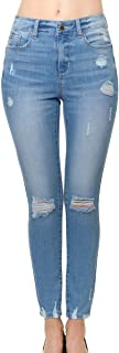 Wax Jean Women's 'Butt I Love You' Push-Up High-Rise Skinny Jeans with Destructed Hem Detail in Fine Cotton Denim
