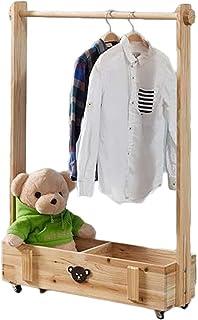 Porte manteau Porte-manteau amovible pour chambre à coucher, Cintre en bois massif pour enfants, Armoire de rangement mult...