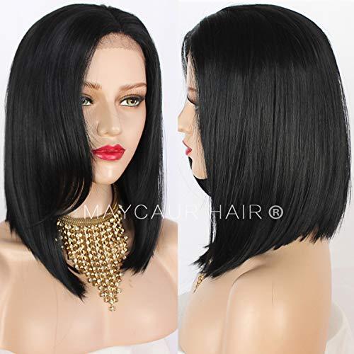 Maycaur Perruque de cheveux synthétiques lisses et soyeuses pour femmes noires 35,6 cm