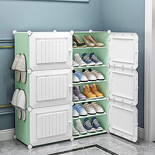 KWOPA Armario De Almacenamiento De Estantes De Zapatos De Plástico con Puertas,Capacidad Extra Grande Organizador De Almacenamiento De Zapatos-A 2 Columna 6 Nivel