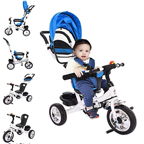Maoulin Kids Tricycle, 4 in 1 Steer Stroller Toy Bike w/Canopy, Safety Seat, Storage Basket, Foot Pedals, Baby Tricycle Push Car for Aged 1-6 Years Old (from US, Blue)