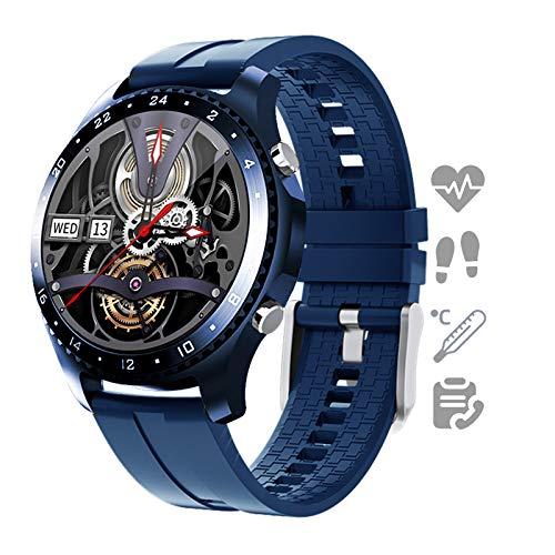 HQPCAHL Smartwatch Reloj para Android iOS con Llamada Bluetooth Monitor De Temperatura Frecuencia Cardíaca Presión Arterial Spo2 Sueño, Monitores De Actividad con 11 Deportes,C